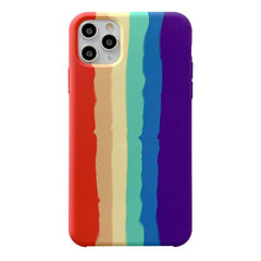iPhone 11 Pro Max Silicone Rainbow Case - Multi