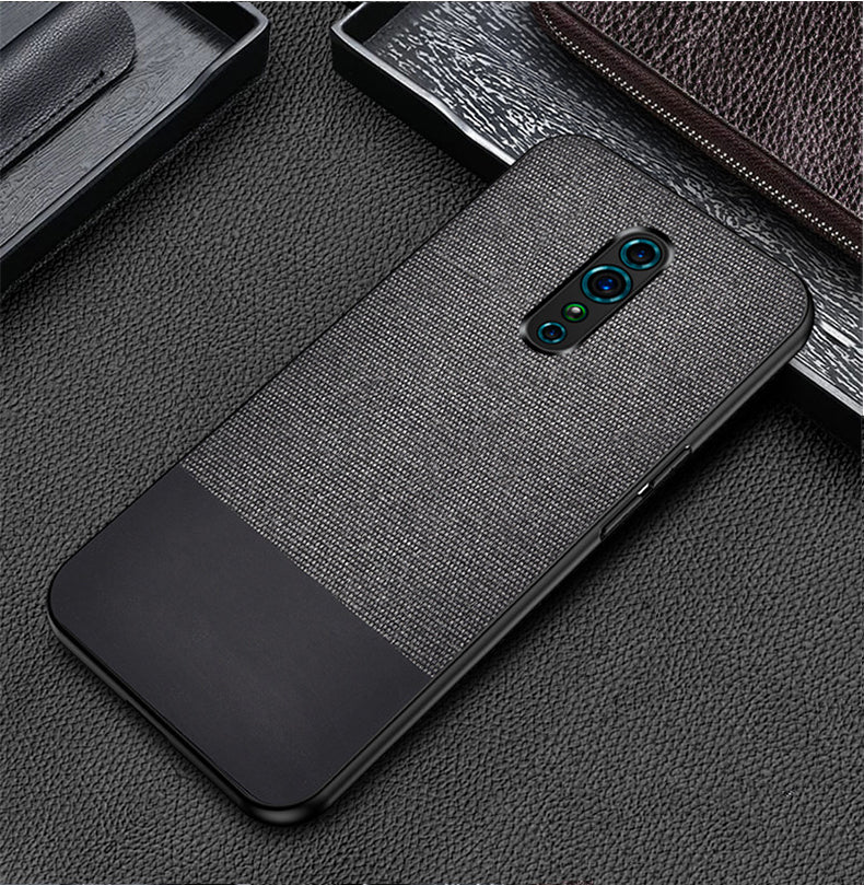 Black Canvas Fabric Cover - OPPO Reno Z - Mobilegadgets360