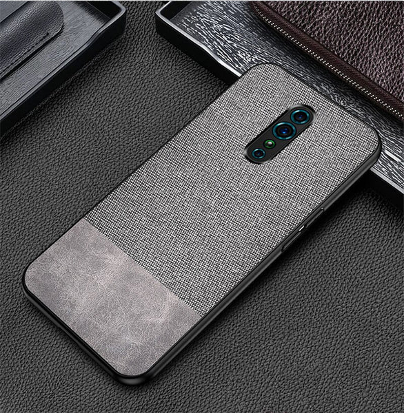 Grey Canvas Fabric Cover - OPPO Reno Z - Mobilegadgets360