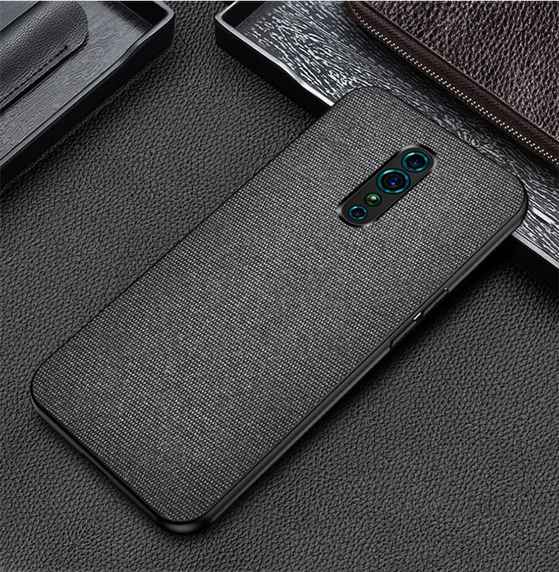 Black Plain Fabric Case For - OPPO Z Reno - Mobilegadgets360