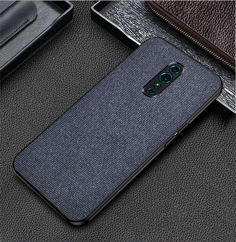 Blue Plain Fabric Back Cover - OPPO Reno Z - Mobilegadgets360