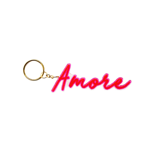 Amore Glitter Word Keyring