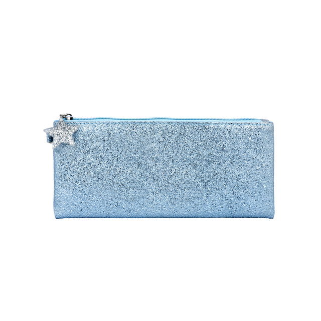 Crushed Foil Pencil Case Star Zip - Blue