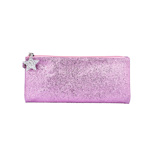 Crushed Foil Pencil Case Star Zip - Pink
