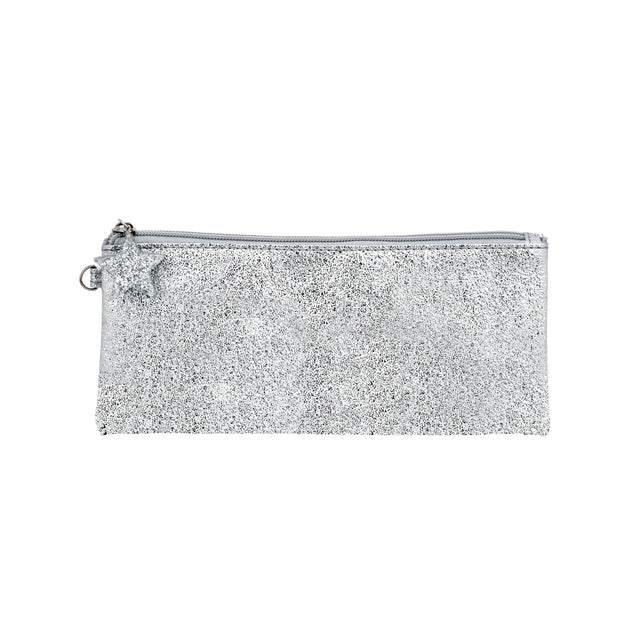 Crushed Foil Pencil Case Star Zip - Silver