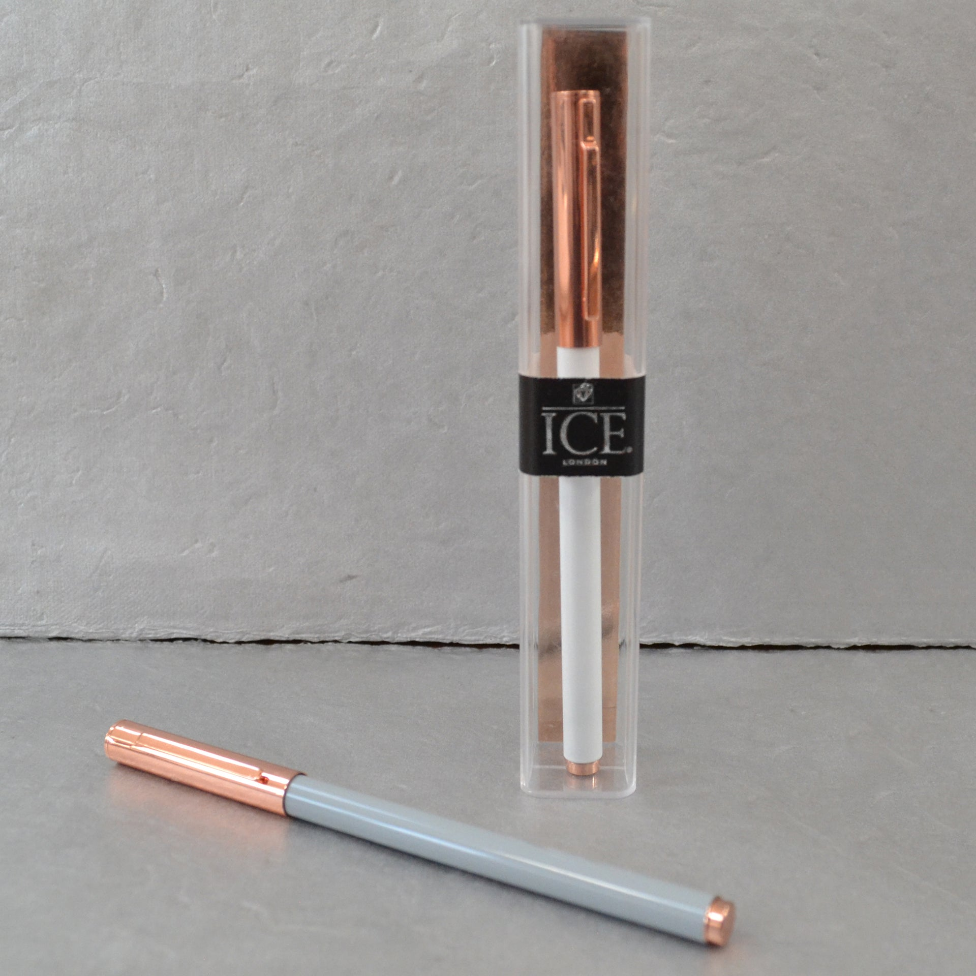 Rose Gold Block Pen - White