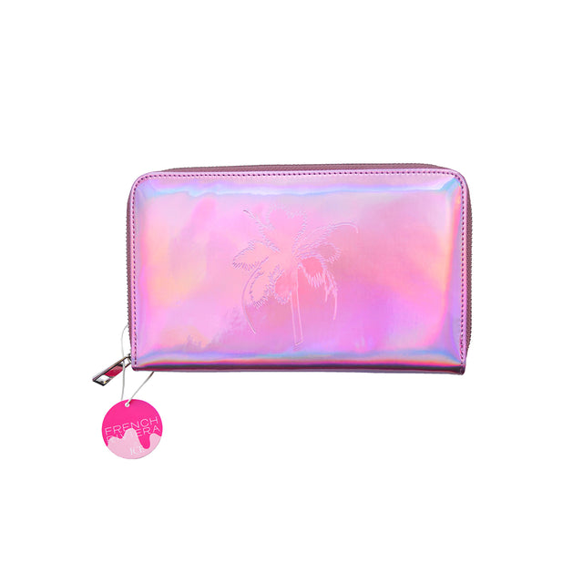French Riviera Pink Iridescent Travel Wallet