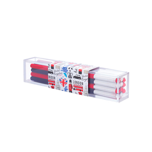 Hello London Set of 10 Velvet Pencils - Navy and Red
