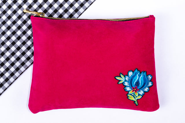 Amore Large Velvet Pouch - Pink