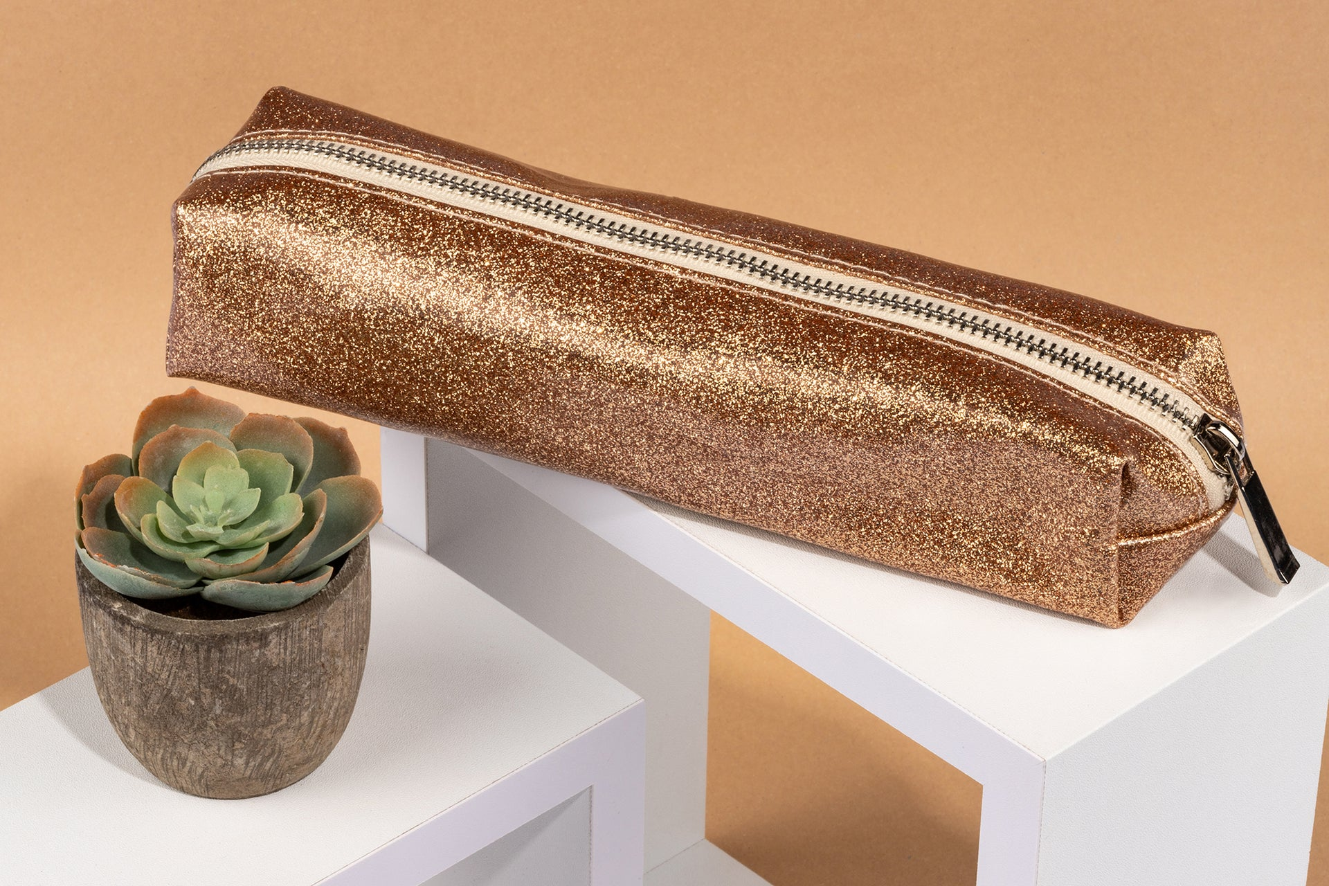 Glitter Pencil Case - Rose Gold