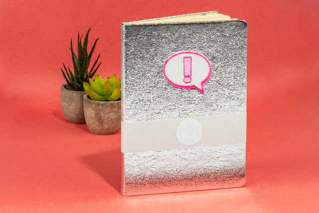 Crushed Foil A5 Notebook - Silver