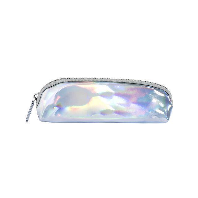 Slim Iridescent Pencil Case - Silver