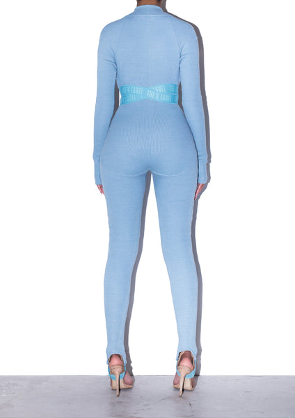 KAINE Strapped Logo Catsuit in Smokey Blue
