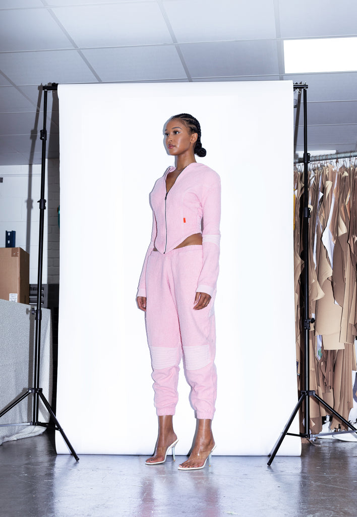 TONIK Vol.2 Slouch Panelled Joggers in Pink Lemonade