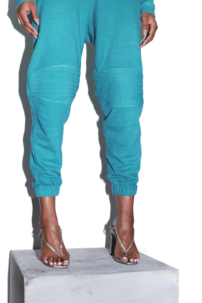 TONIK Slouch Panelled Joggers in Azure Blue