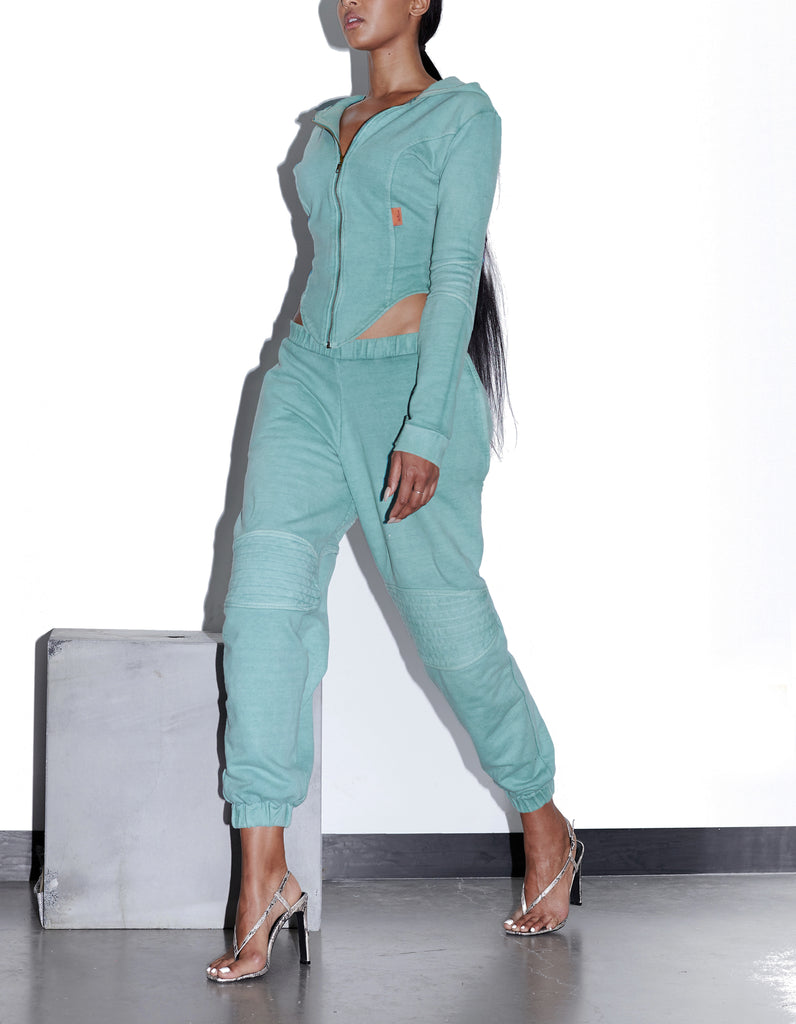 TONIK Slouch Panelled Joggers in Seafoam Green