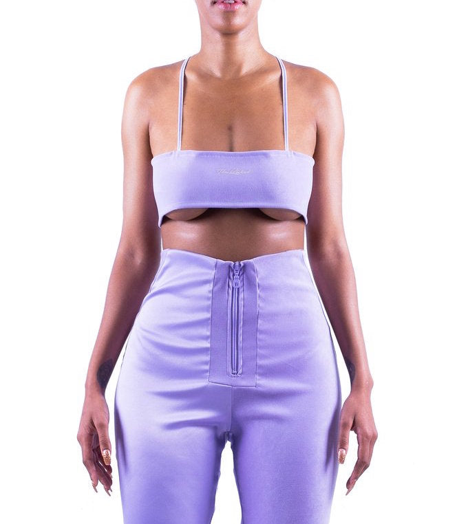 DAWN Matte & Shine Bandeau Crop Top In Lavender