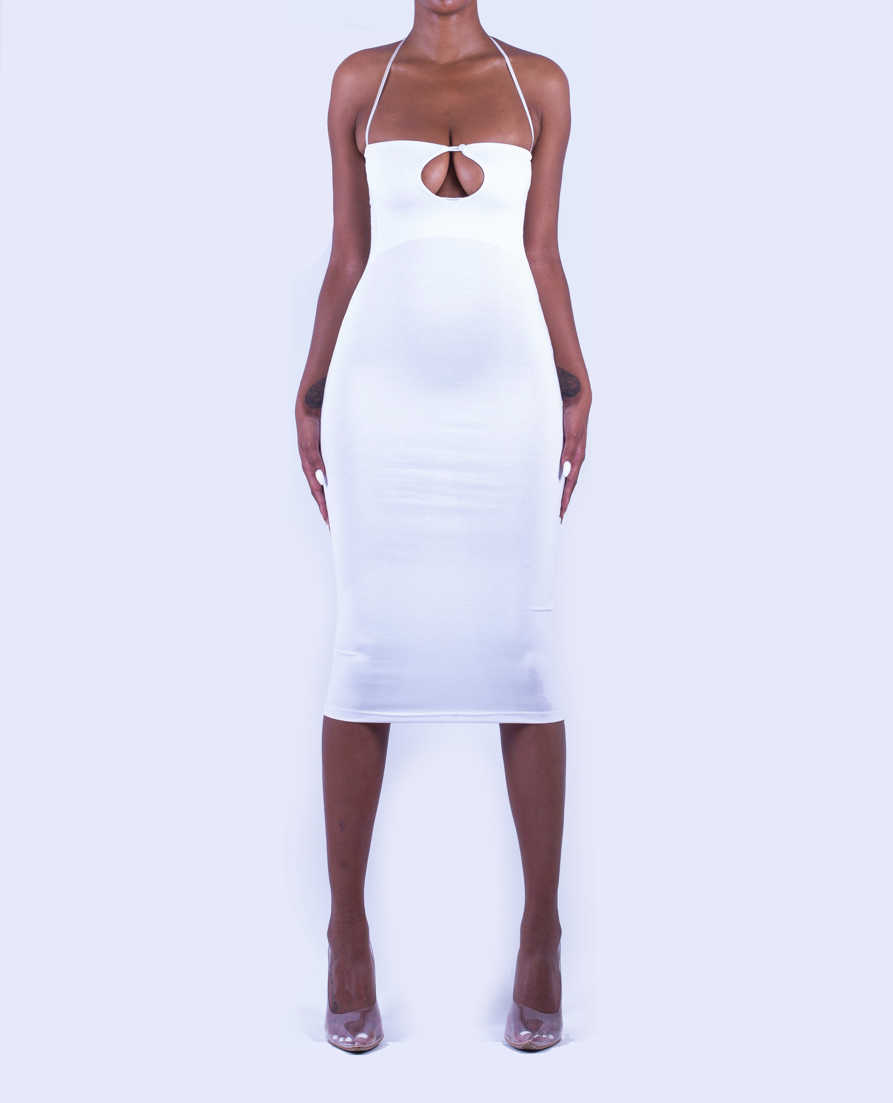 LOURDES Cut-Out Midi Dress in Arctic White