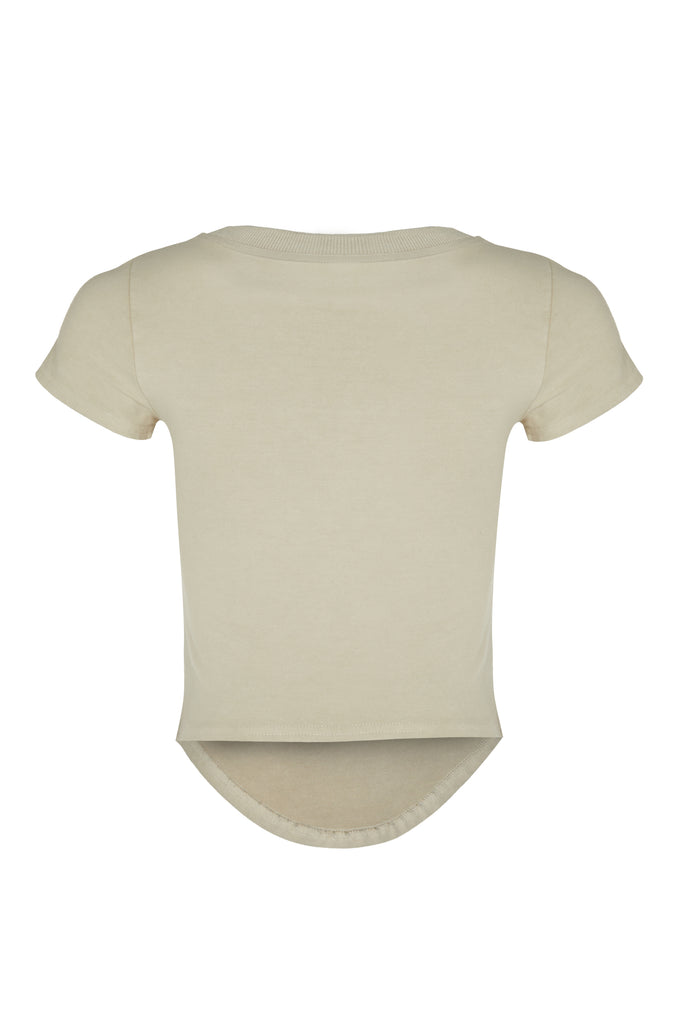 basiK• Corset Fitted T-Shirt in Oatmeal