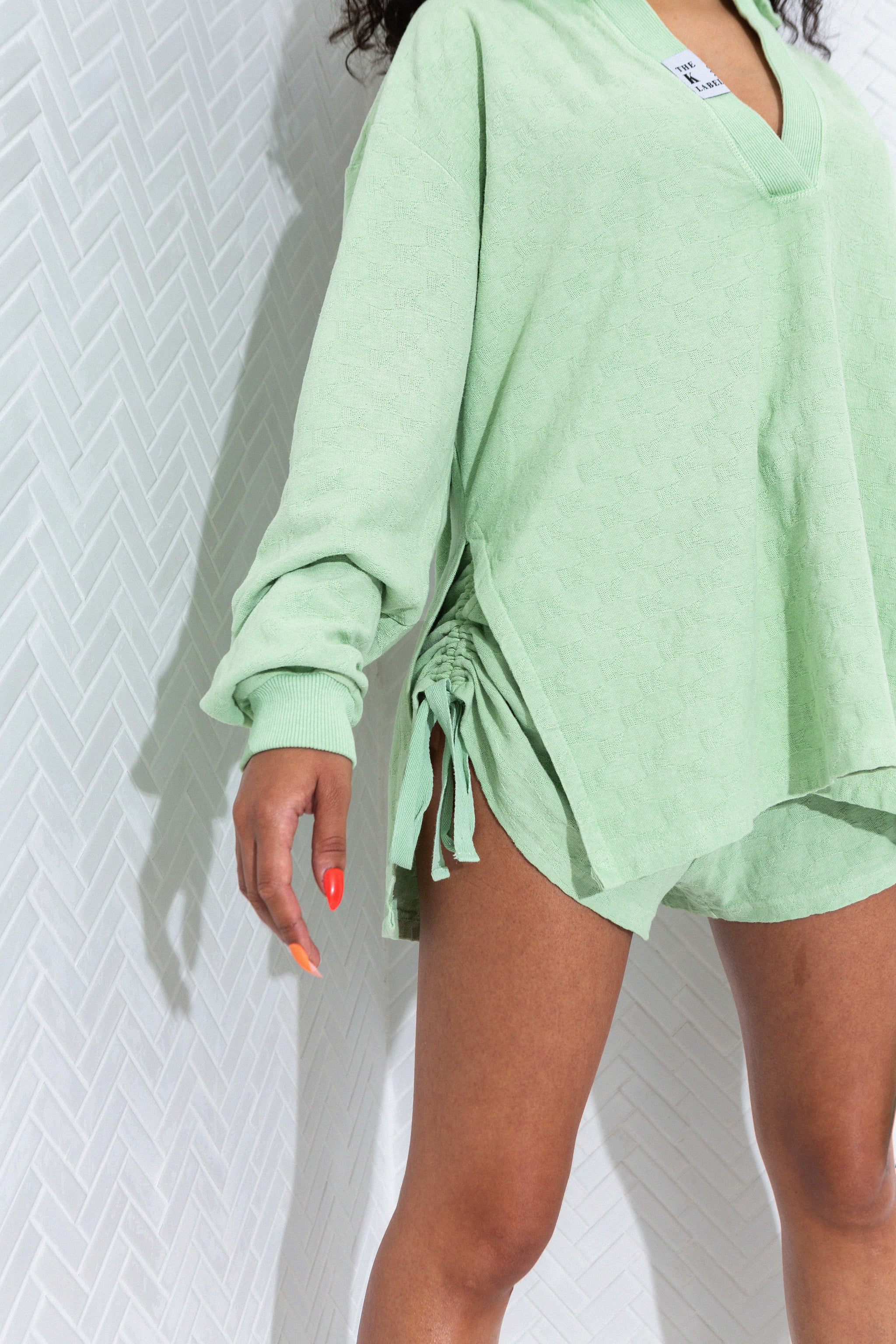 KOTTONS Stamped Ruched Shorts in Matcha Green
