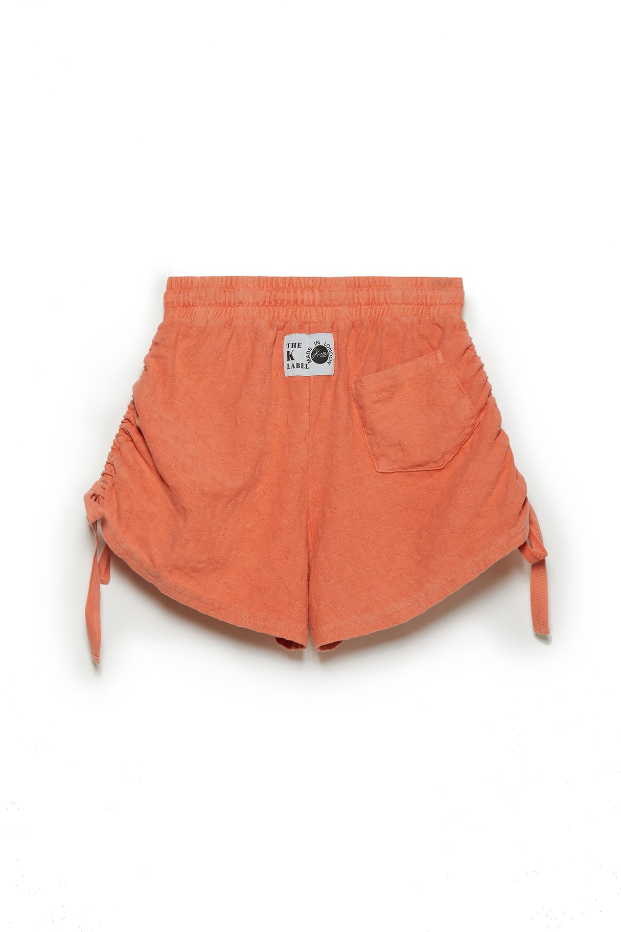 KOTTONS Stamped Ruched Shorts in Nectarine