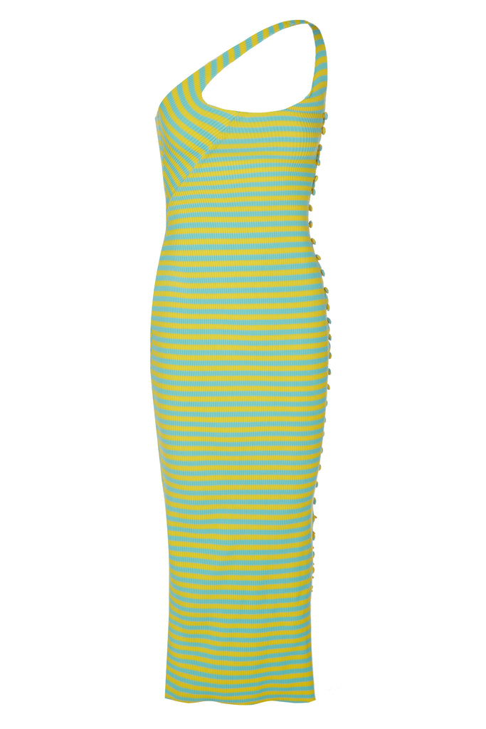 TWISTAH Stripe Button-down Midi Dress in Lemon and Lime