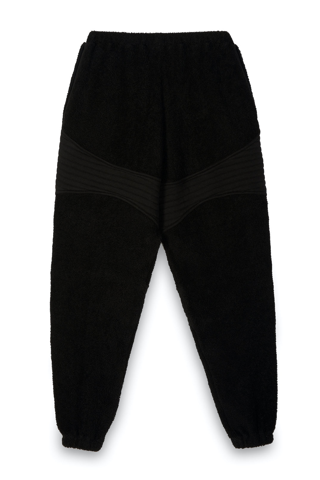 TONIKteddy Slouch Panelled Joggers in Pitch Black