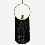 Black Fringed Gold Pendant Lamp