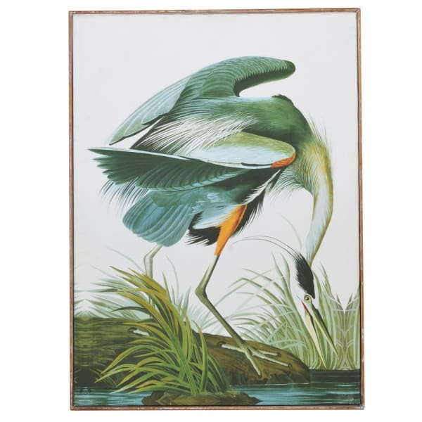 Large Green Tropical Crane Wall Art