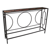 Black Metal Console Table with Purple Floral Pattern Glass Top