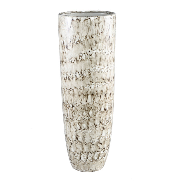 Amelia White Glazed Ceramic Flame Vase