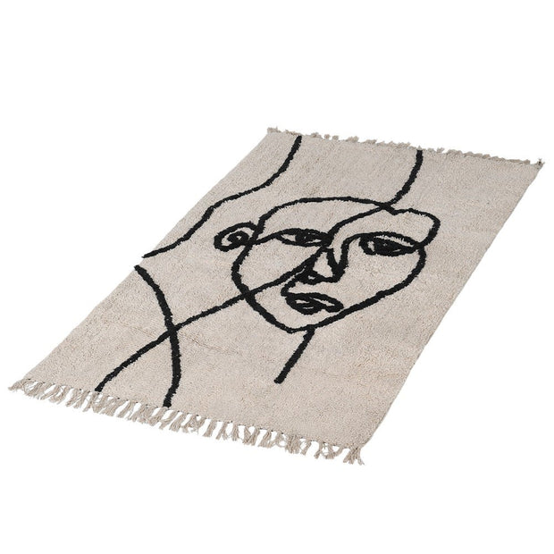 Abstract Face Cotton Rug