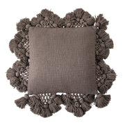 Ava Oversized Brown Cotton Tassel Cushion