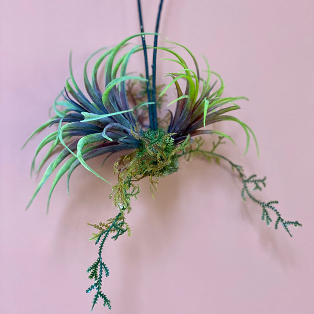 Artificial Green Tillandsia Hanging Plant