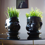 Black Ceramic Baby Face Pot
