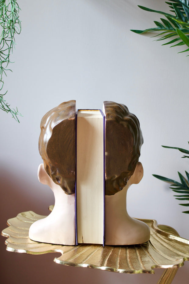 Antiqued Deco Head Bookends
