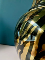 Black & Gold Zebra Print Ceramic Jar (SLIGHT SECOND)