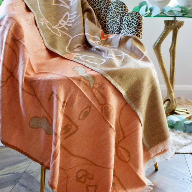 Abstract Beige & Pink Reversible Throw
