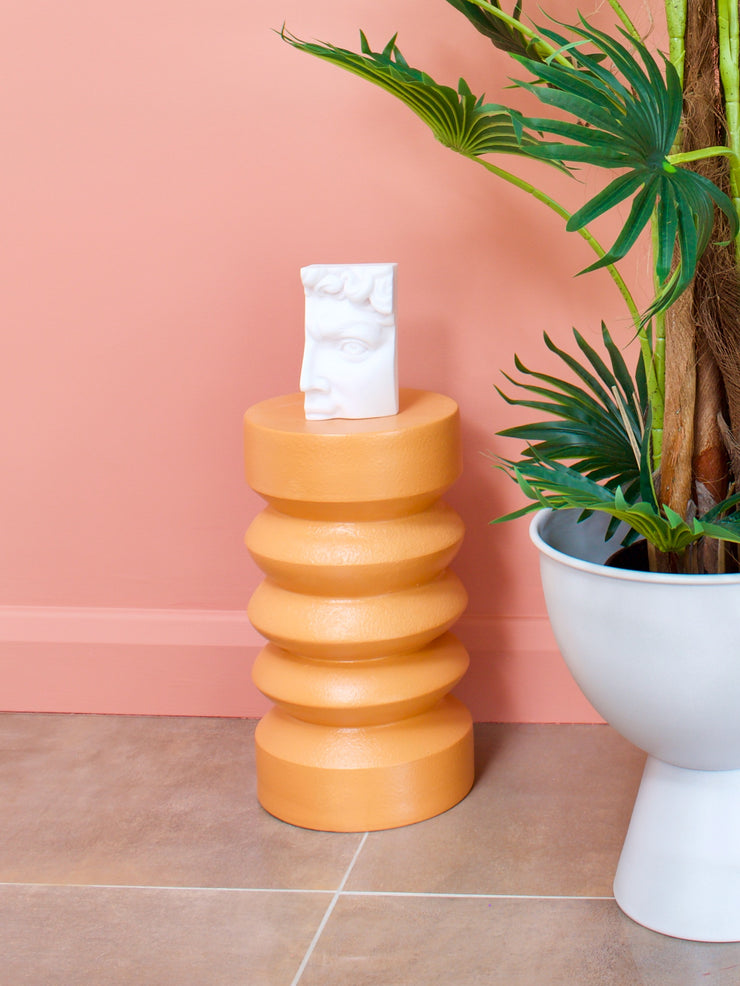 Stoneware Orange Ribbed Side Table
