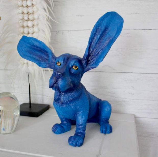 Electric Blue Surprised Basset Hound Decor