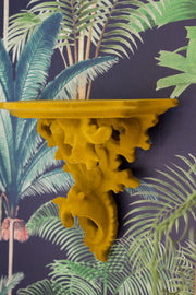 Ornate Yellow Flock Wall Shelves - Set of 2