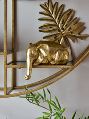 Peering Over Gold Elephant Ornament