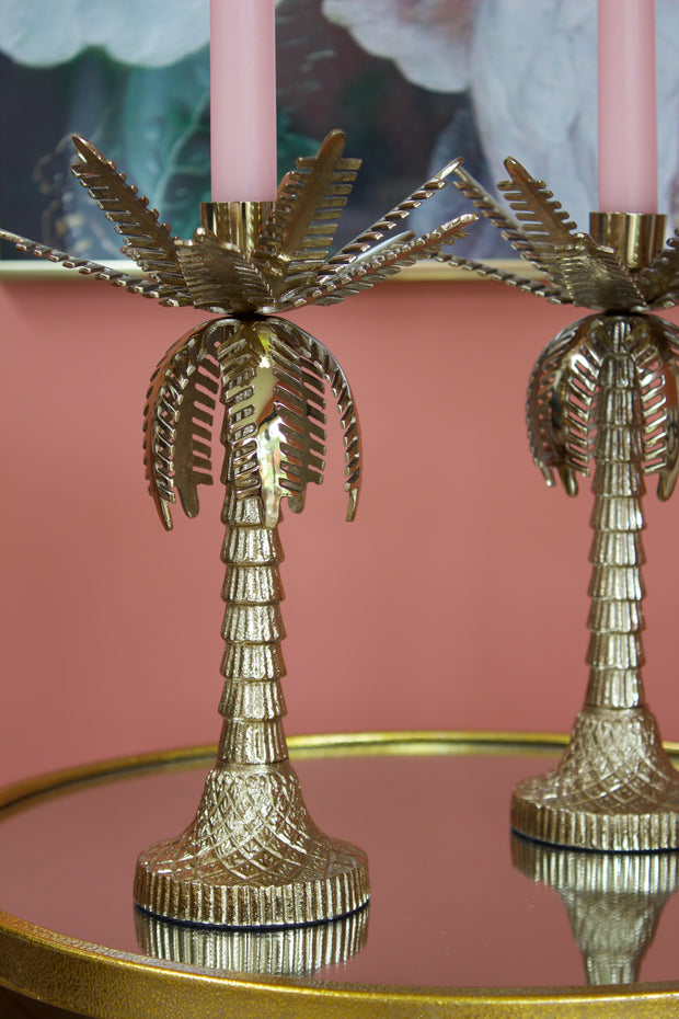 Gold Palm Tree Candle Holder