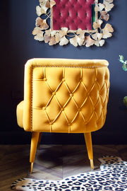 Mustard Curved Chesterfield Chair