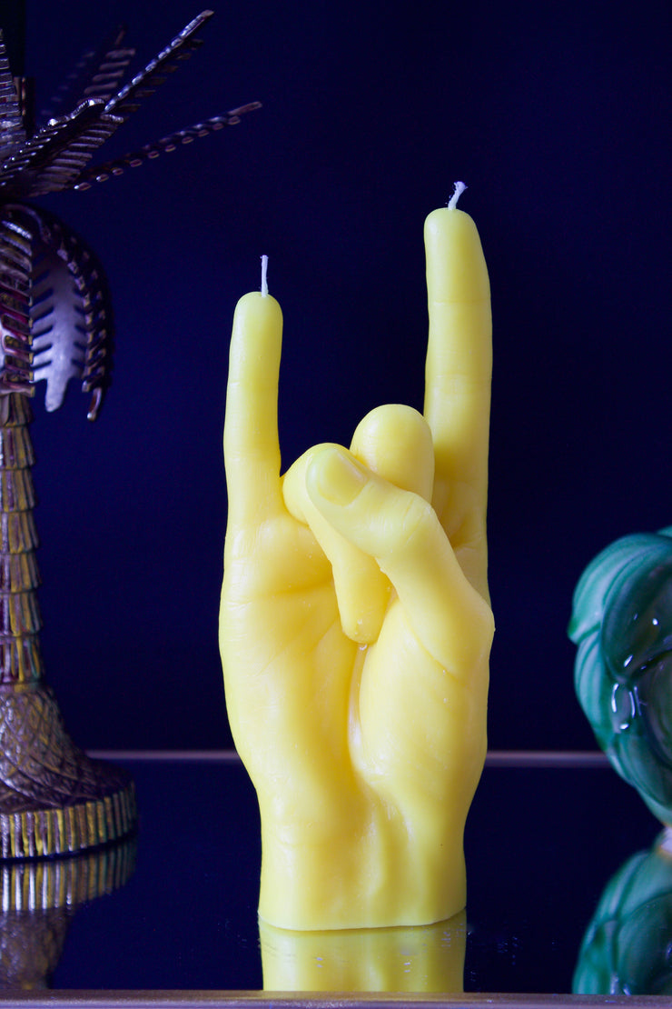 Yellow 'You Rock' Candle Hand