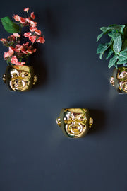 Set of 3 Gold Baby Face Wall Pots