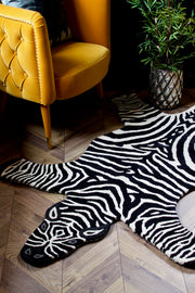Large Hand-Tufted Wool Zebra Rug