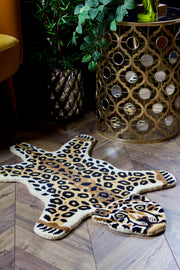 Small Hand-Tufted Wool Leopard Rug