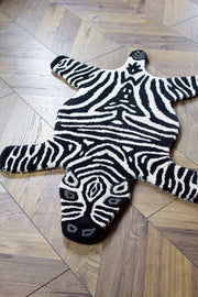 Small Hand-Tufted Wool Zebra Rug