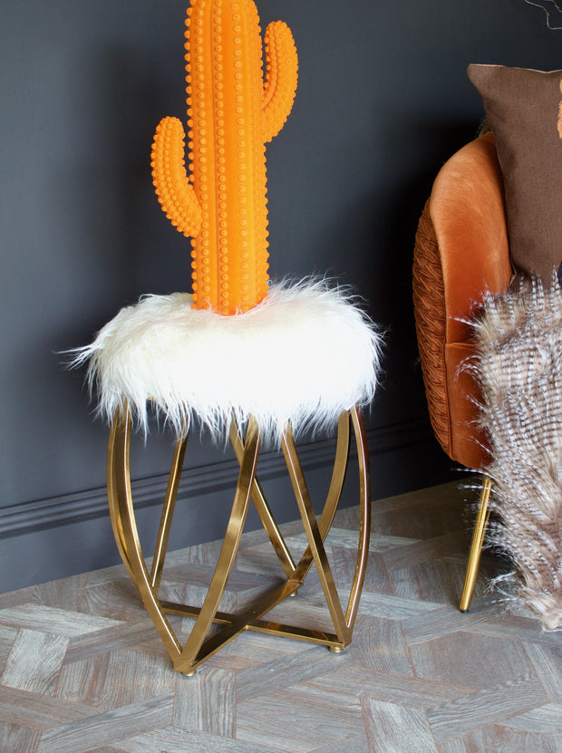 Faux Fur Gold Stool